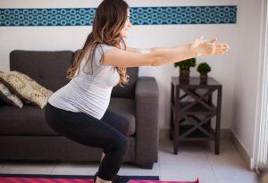 Pregnant women doing squats