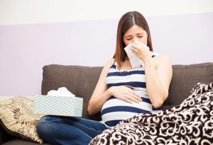 A pregnant woman having flu