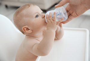baby having water