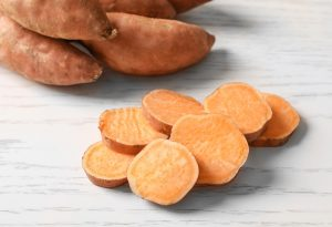 Slices of sweet potatoes