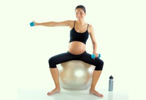 Exercise in pregnancy, using a ball