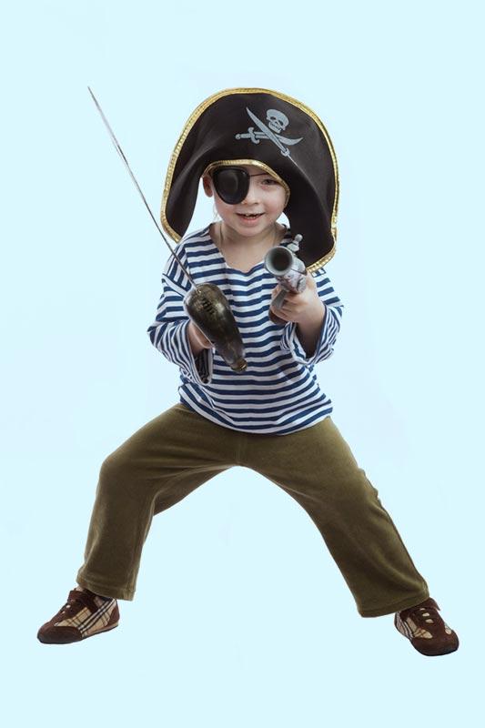 A boy dressed as a pirate