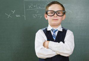 A boy dressed as a nerd