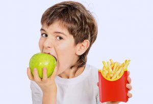 Child making healthy food choice