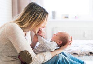 Lap-hold on a newborn