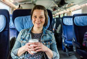 Pregnant woman on train