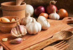 Garlic on chopping board