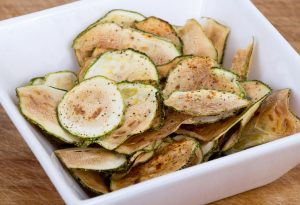 Zucchini chips baked in an oven