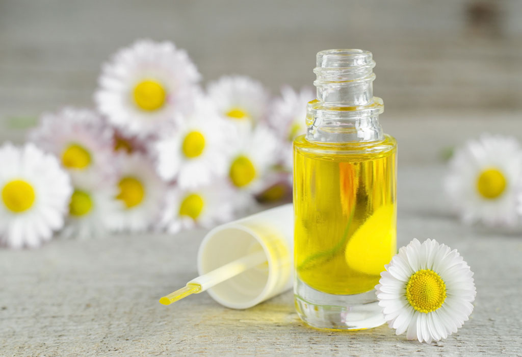 A bottle of chamomile oil