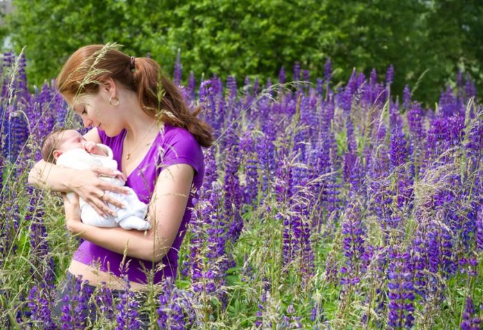 A mother holding her baby while standing in a purple lupine field
