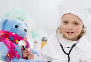 Child pretending to be doctor