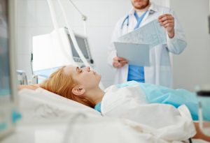 A woman in a hospital