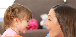 Child talking to mother