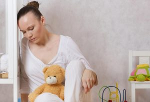 A young mother feeling depressed