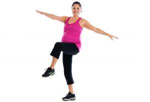 Woman lifting knee