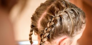 A little girl with braids