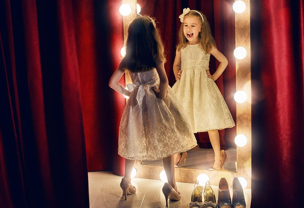 Girl in front of mirror