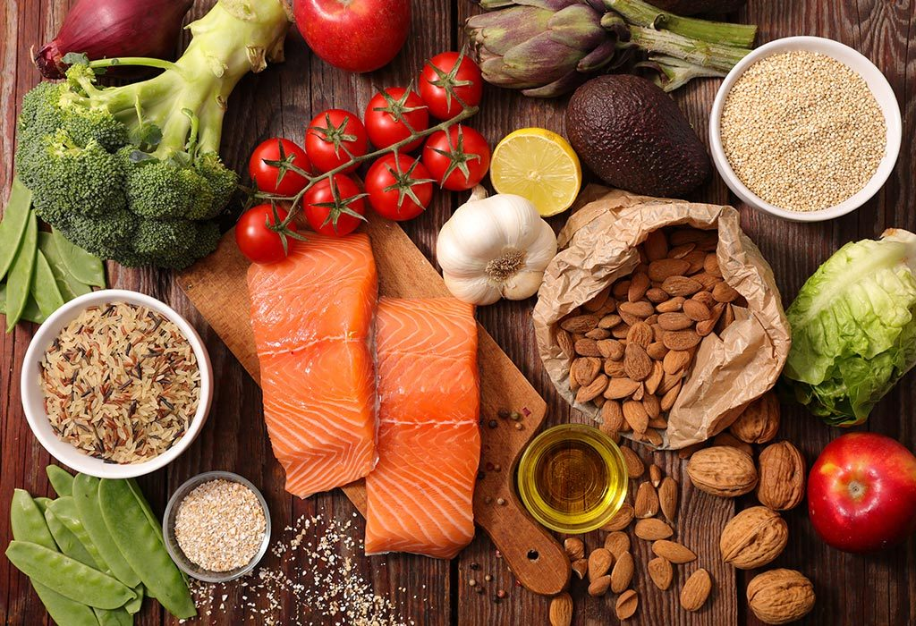 Balanced diet with different nutrients