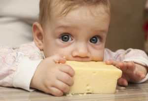 Baby eating cheese