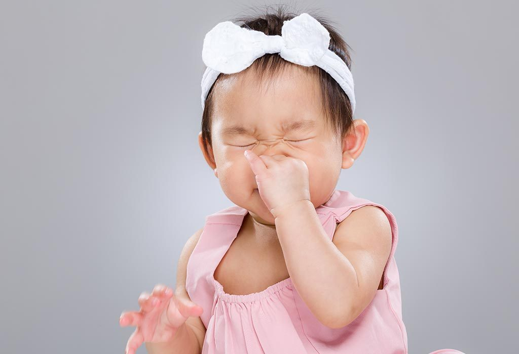 A baby girl's clogged nostrils