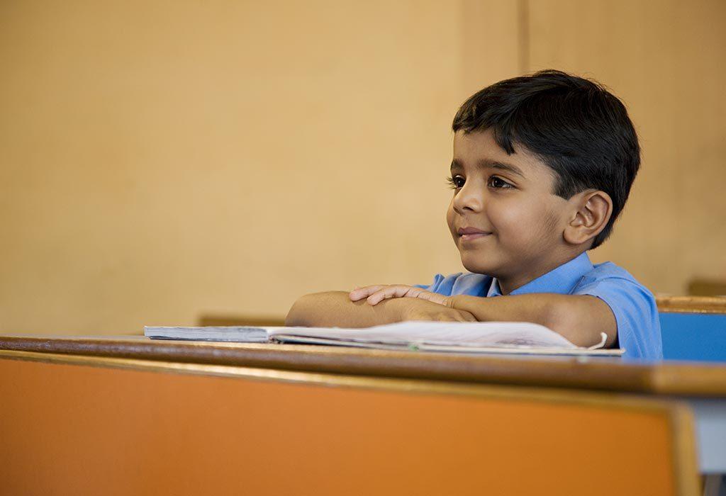 A little boy at school