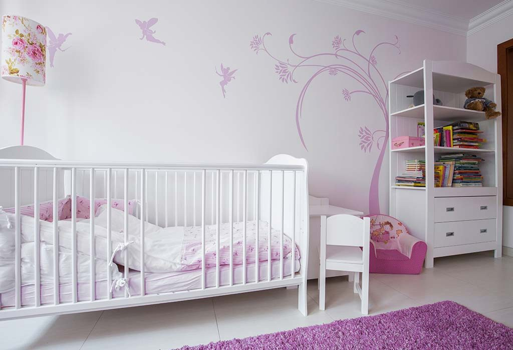 A crib in a baby's room