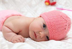 A baby girl awake