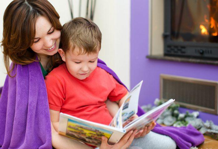 A mother teaching a kid
