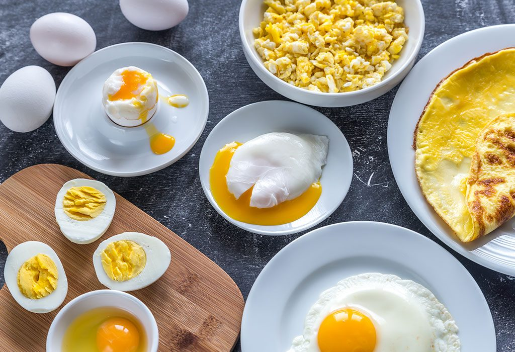 Cooked eggs.