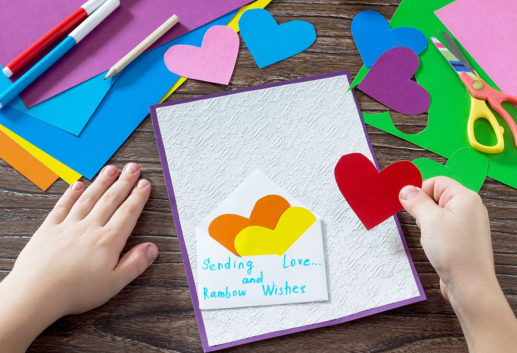 Rainbow hearts craft
