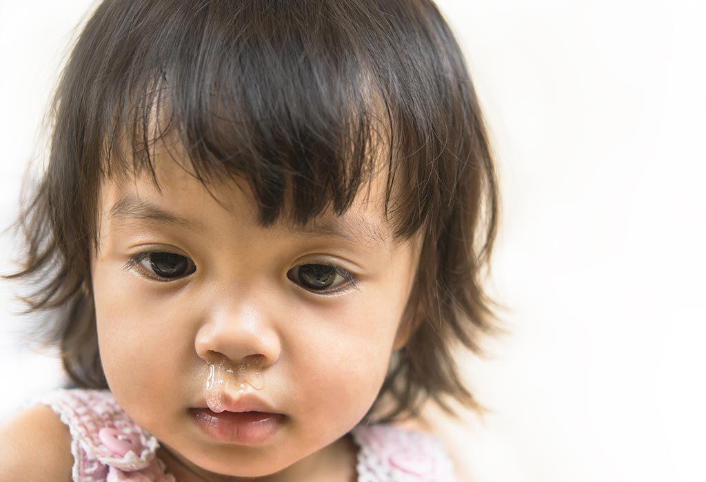 Cute girl with sinusitis