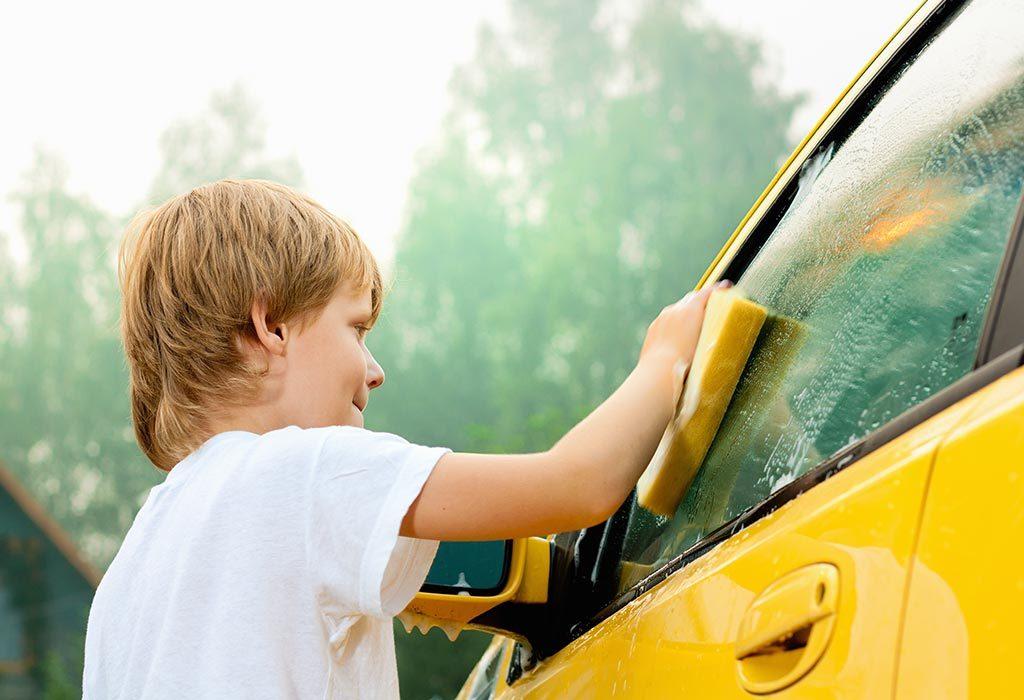 KID WASHING CAR