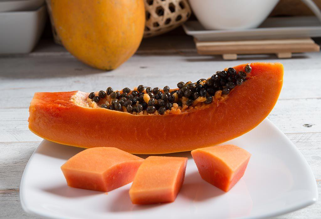 Sliced ripe papaya