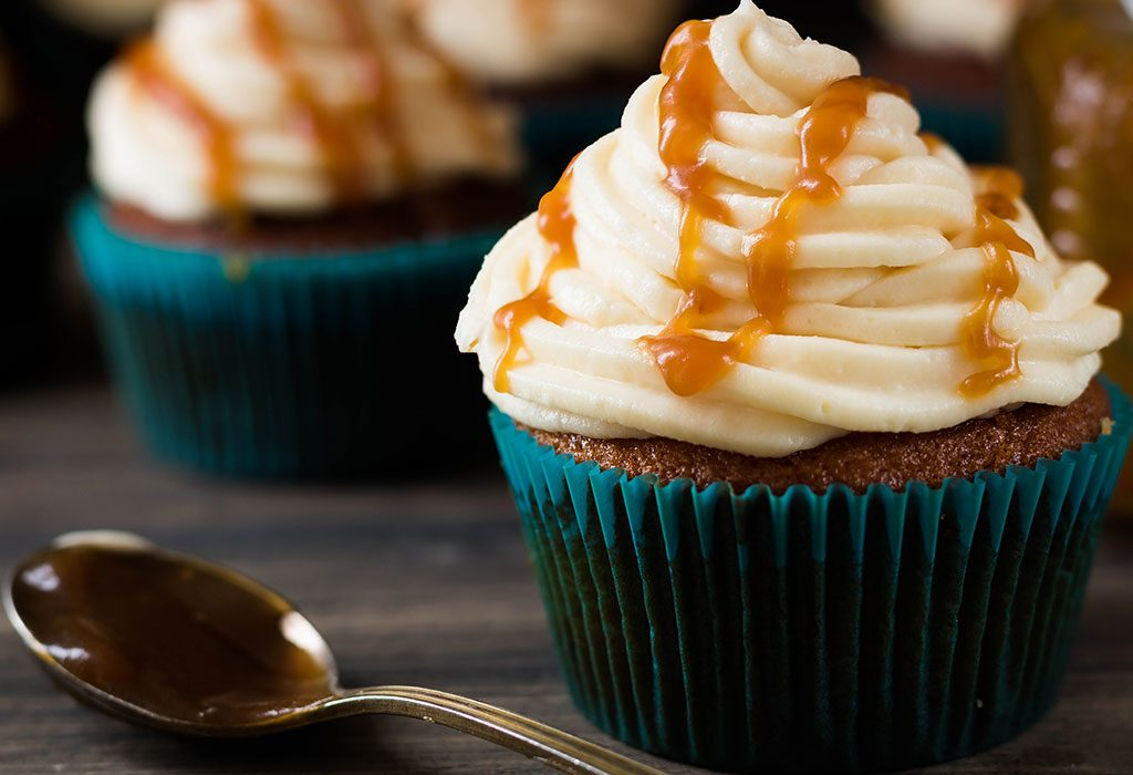 Salted Cupcakes with Caramel Filling