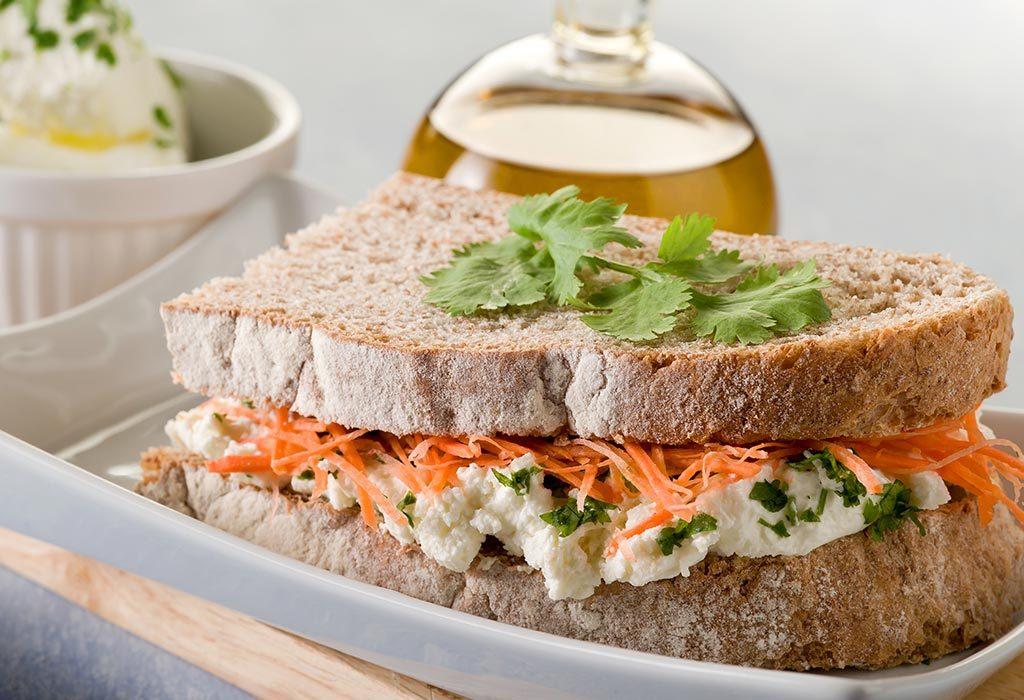 Carrot and chutney sandwich