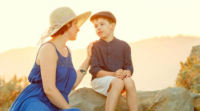 A mother talking to her son