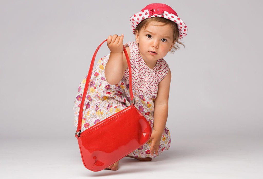 A girl with a small handbag