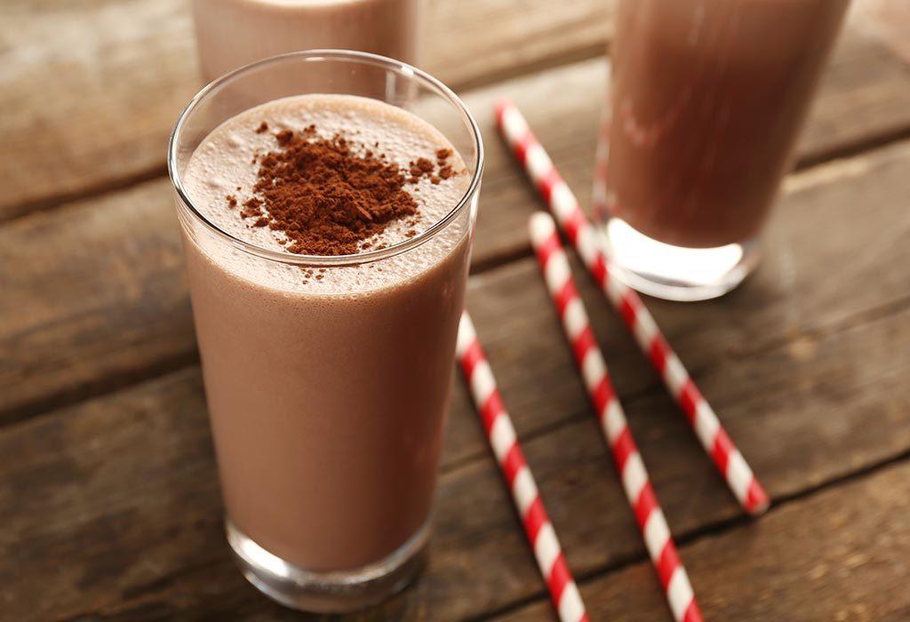A glass of chocolate milkshake