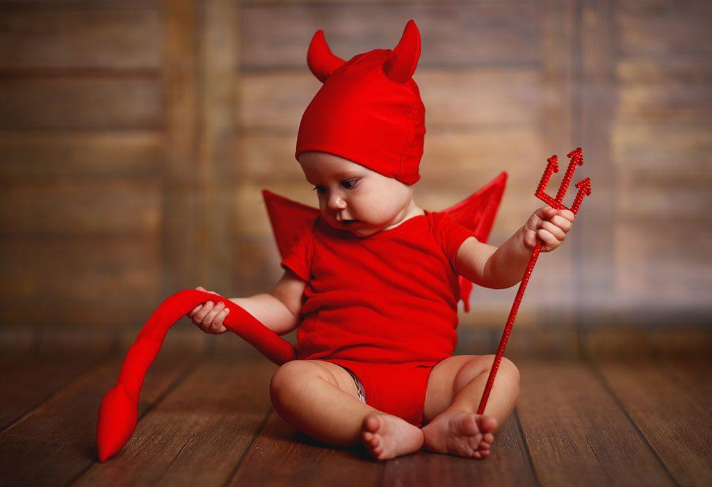 Baby dressed as devil