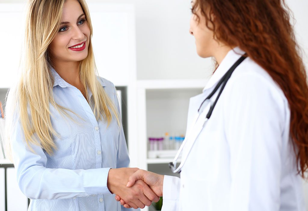 Doctor greets patient