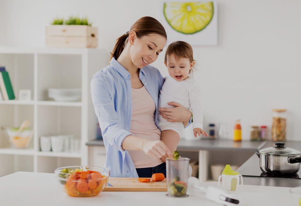 Mother preparing baby food