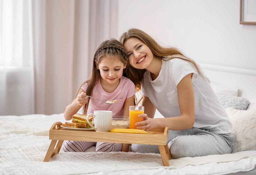 A mother & child having breakfast
