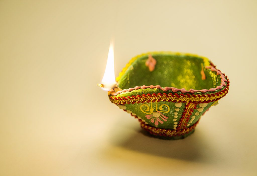 A painted diya