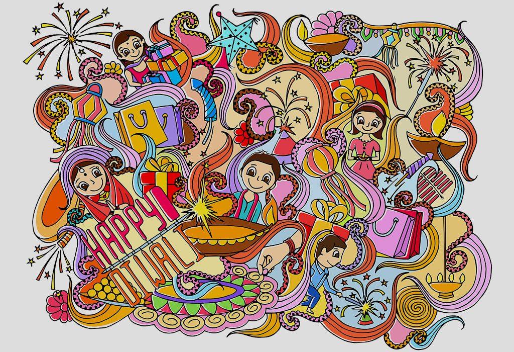 Doodle Card for Diwali