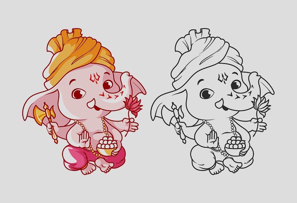 Colouring Ganesha drawing