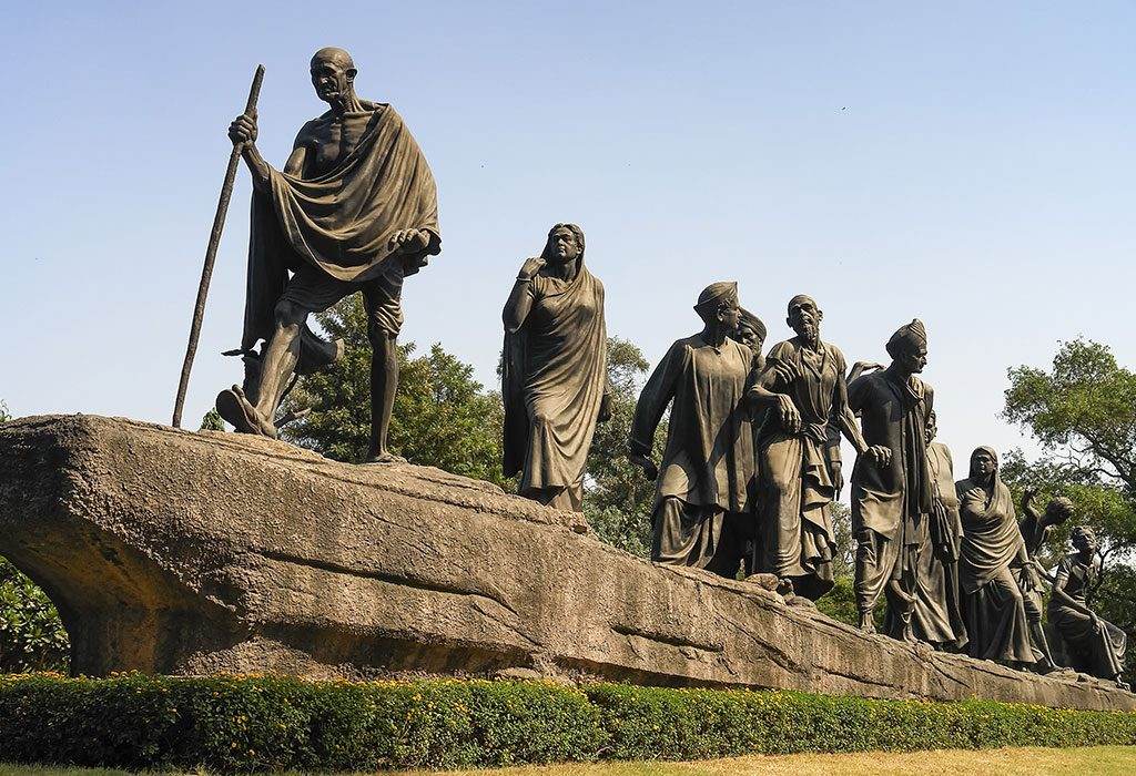 Monument depicting Dandi March, led by Mahatma Gandhi