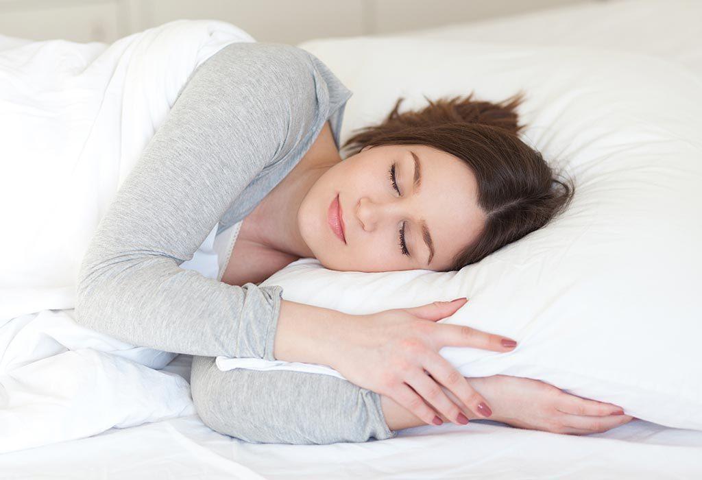 A woman takes rest