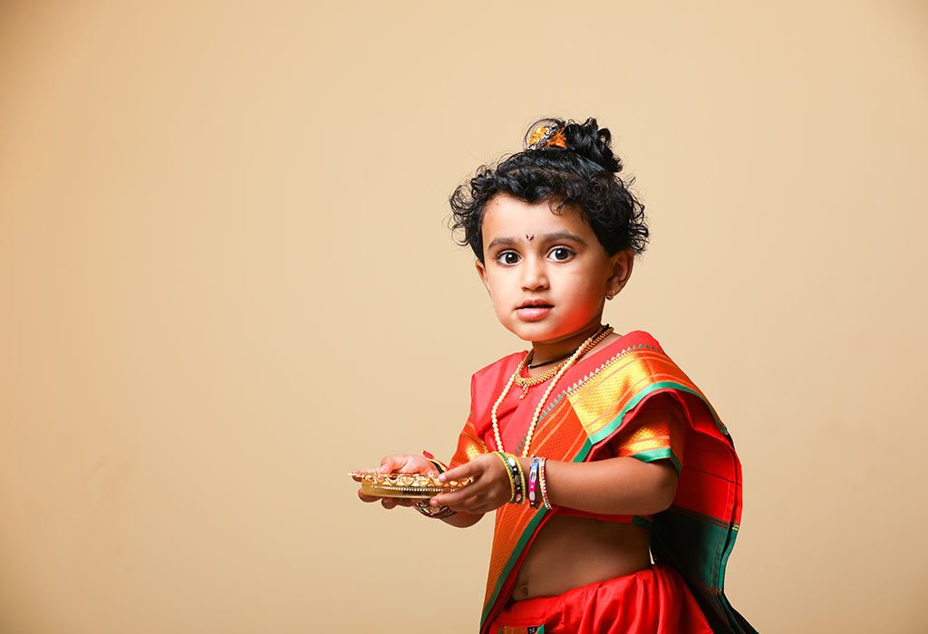 A little girl dressed up on Diwali