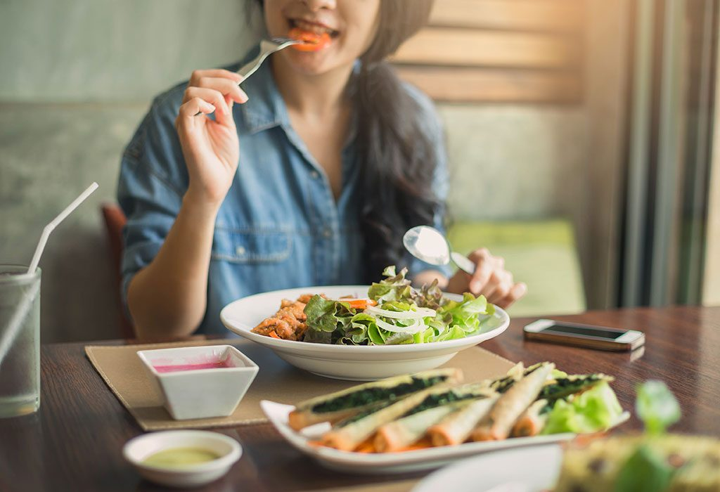 Woman eating a healthy meal