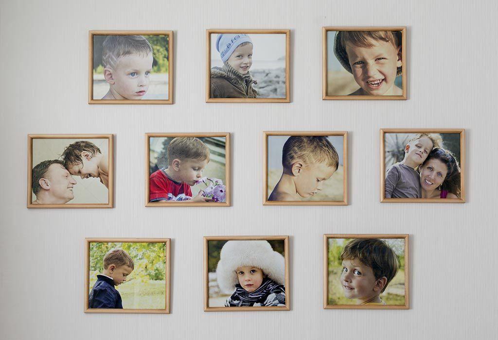 Photo collage on wall